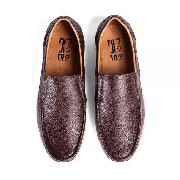 Giày mọi nam da bò Giày lười da thật Insho Đen 3